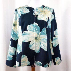 Victor Costa Womens Large Blue Floral Jacket